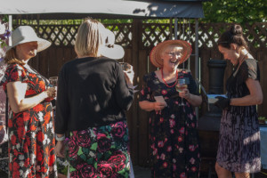 Garden Party Ideas - mingling with lemonade, wine, cheese and grapes.