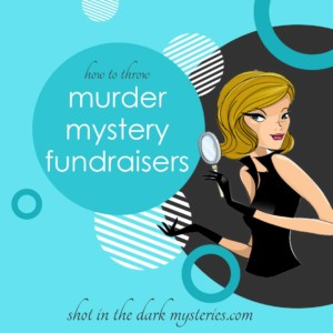 Mystery gal holding magnifying glass blue andwhite circles how to host murder mystery fundraisers shot in the dark mysteries