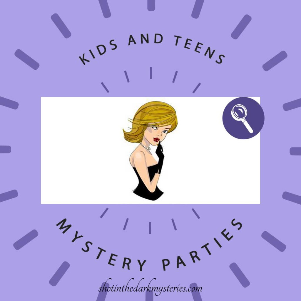Purple background with Shot In The Dark Mysteries Shhh Mystery Gal for Kids and Teens Murder Mystery Parties