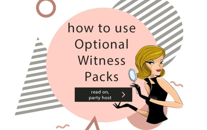 How to Use the Optional Witness Packages Shot In The Dark Mysteries Gal on pink and white background