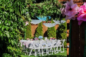 Garden Party Ideas - Giant Flowers and Hanging Umbrellas