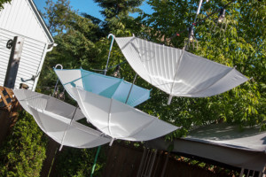 Garden Party Ideas - Hanging Umbrellas and Caged Lights