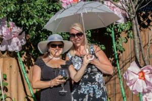 Garden Party Ideas - Umbrella and flower photo area