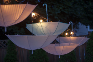 Garden Party Ideas - illuminated hanging umbrellas
